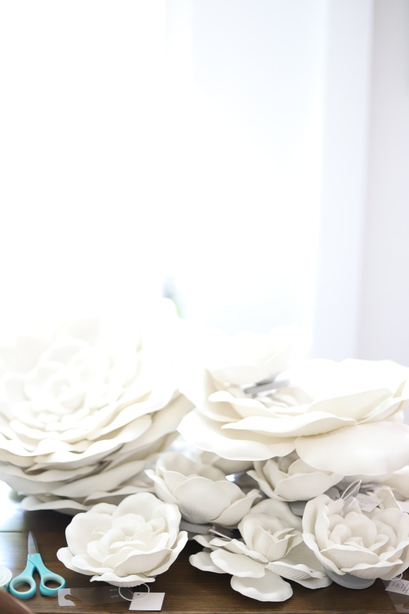 stacks of white foam flowers