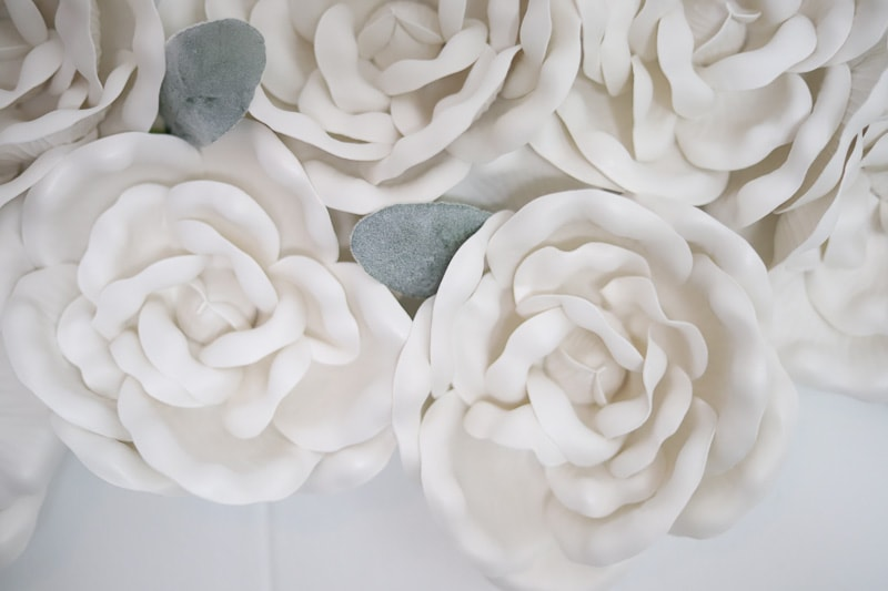 White foam flowers with leaves hung