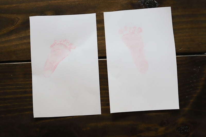 left and right baby foot print