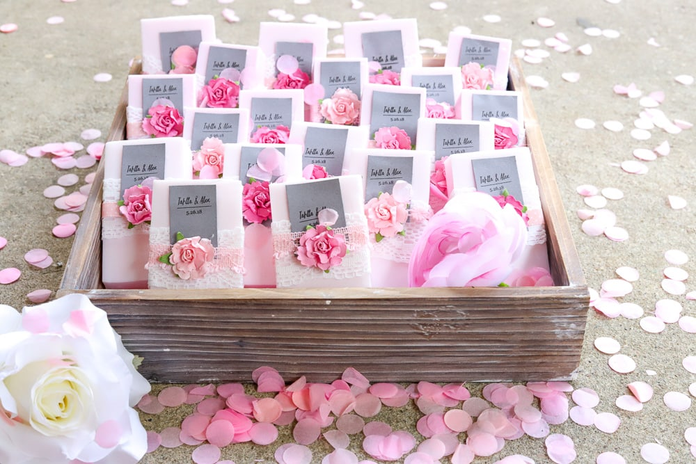 diy rose wedding soap favors with confetti