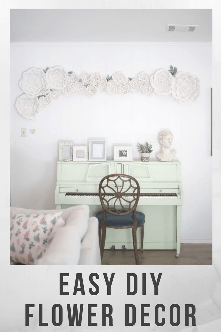 Living room wall decor ideas - flower wall decor with paper flowers from hobby lobby