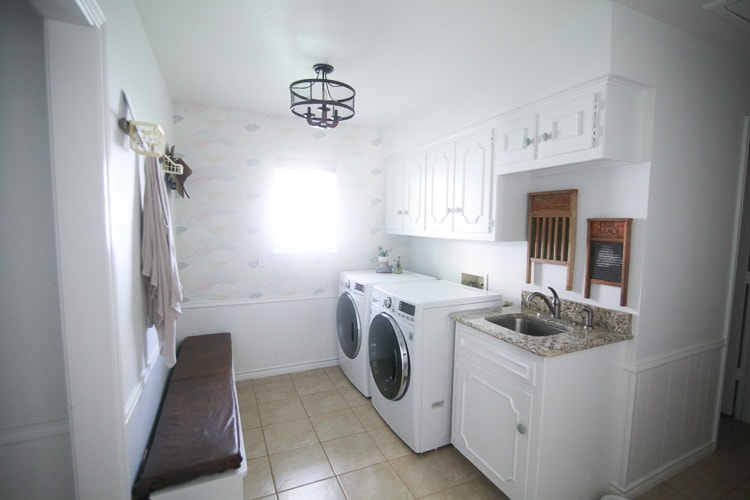 clean, white laundry room on a budget