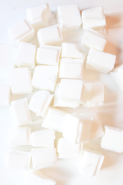 Square chunks of white soap