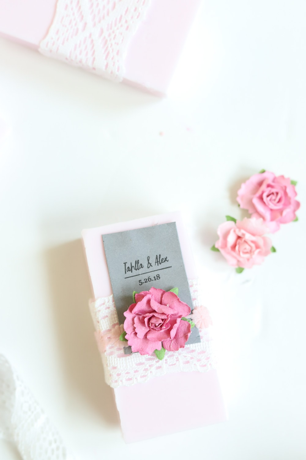 diy rose soap with pink paper flowers