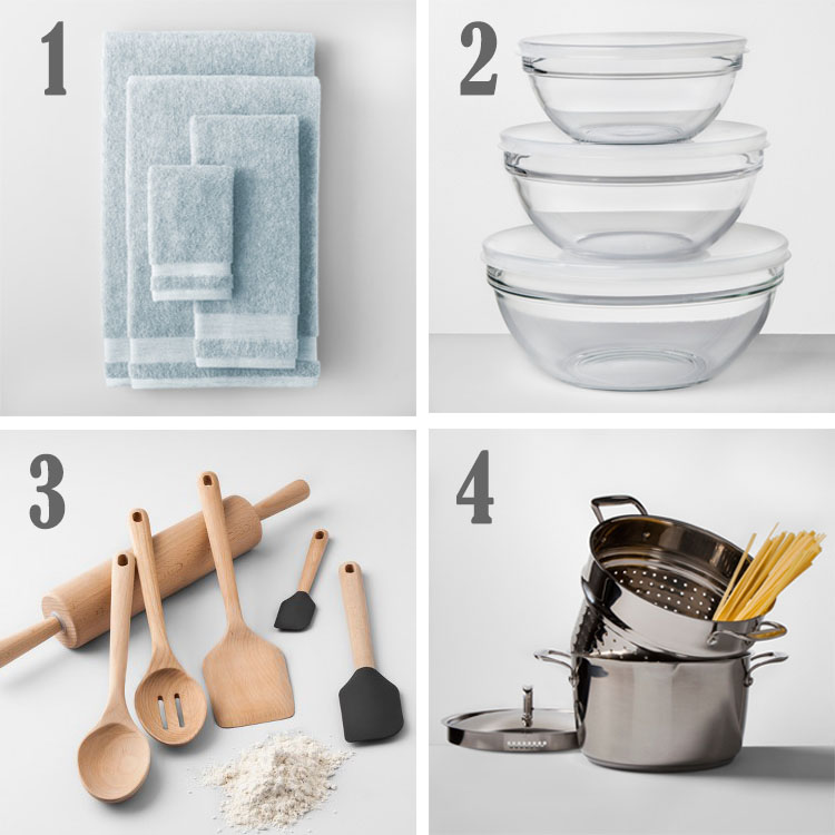 collage of items from made by design at target - towels, bowls, utensils and pot