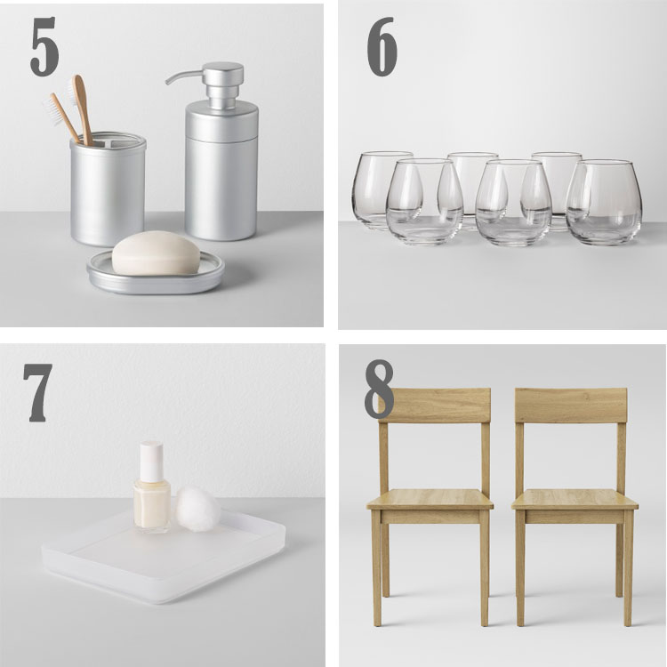 items found at target in the made by design collection like bath items, stemless wine glasses, bathroom tray and chairs