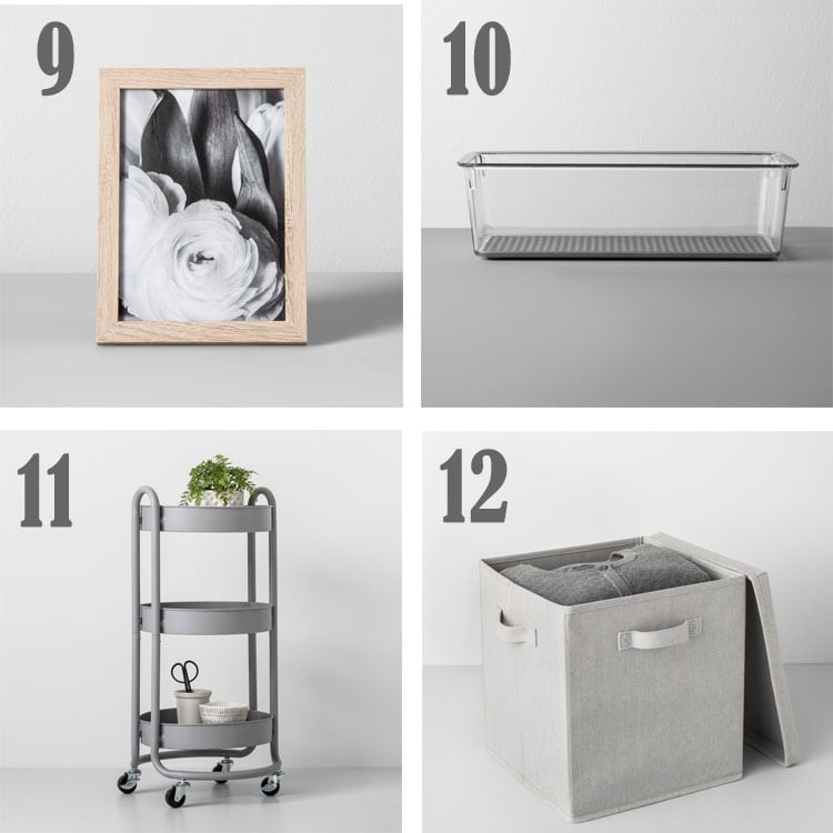 items found at target in the made by design collection like picture frame, bin, cart.