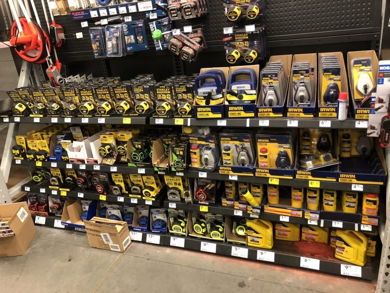 Aisle of measuring tapes at Lowe's