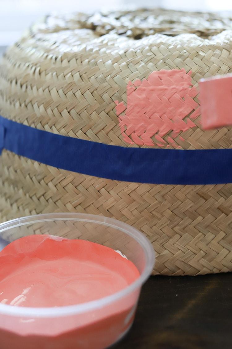 pink paint on an ikea basket