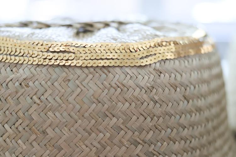 gold sequins on wicker basket