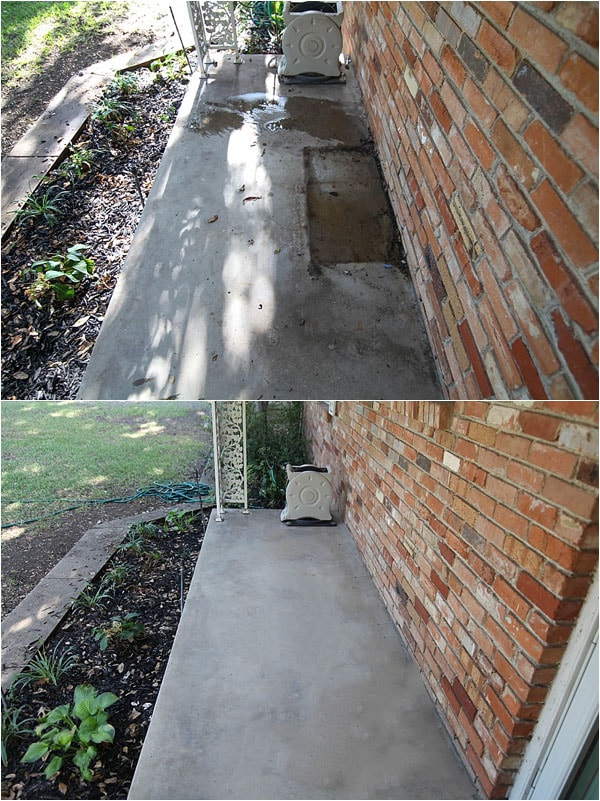 before and after of a concrete patio when cleaned and stains removed