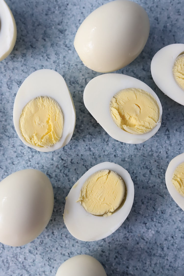 hard boiled eggs cut in half