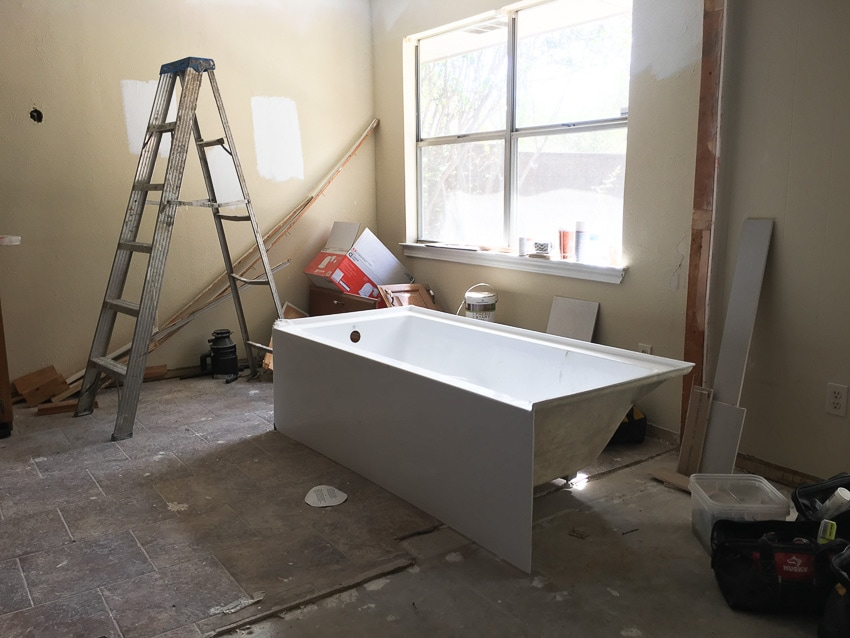 New bathtub at remodeling site