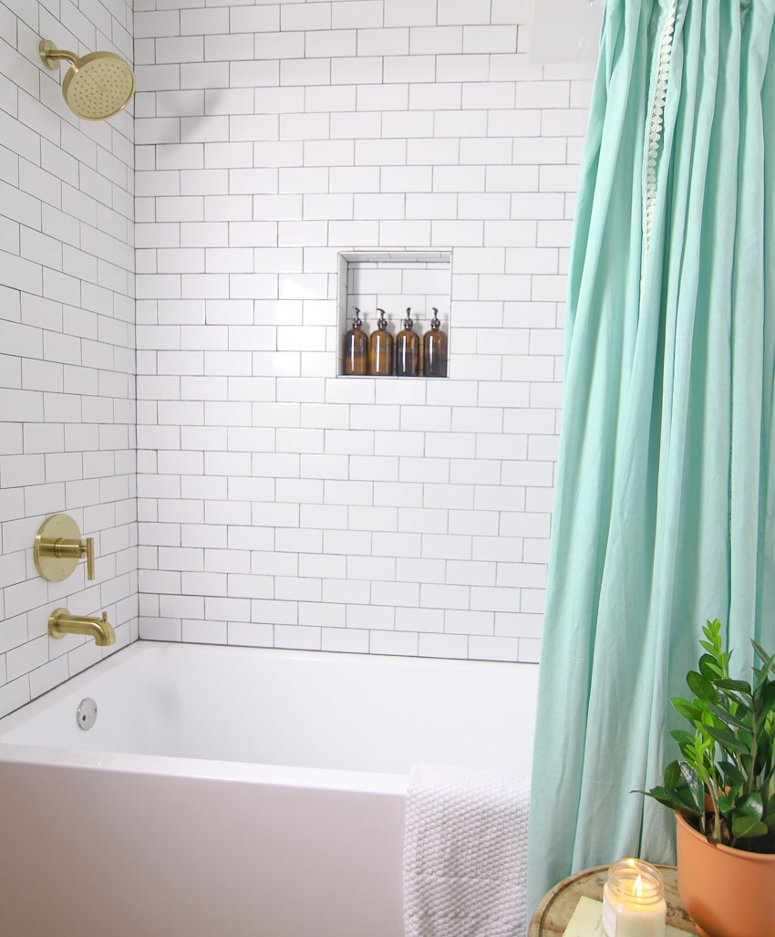Shower tub combo with subway tile