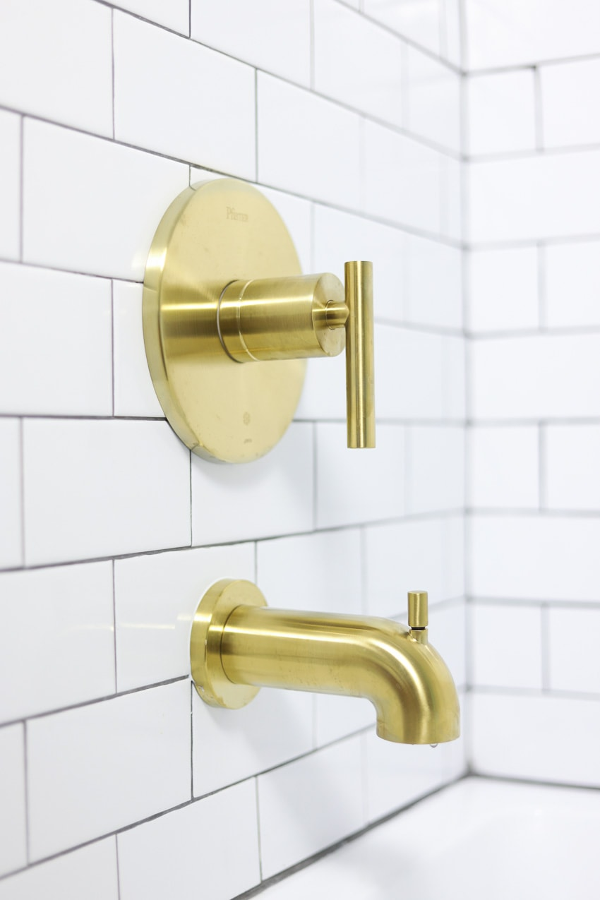 brushed gold tub spout and handle