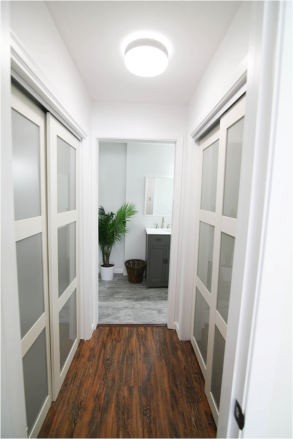 hallway looking into bathroom with potted plant and closet doors