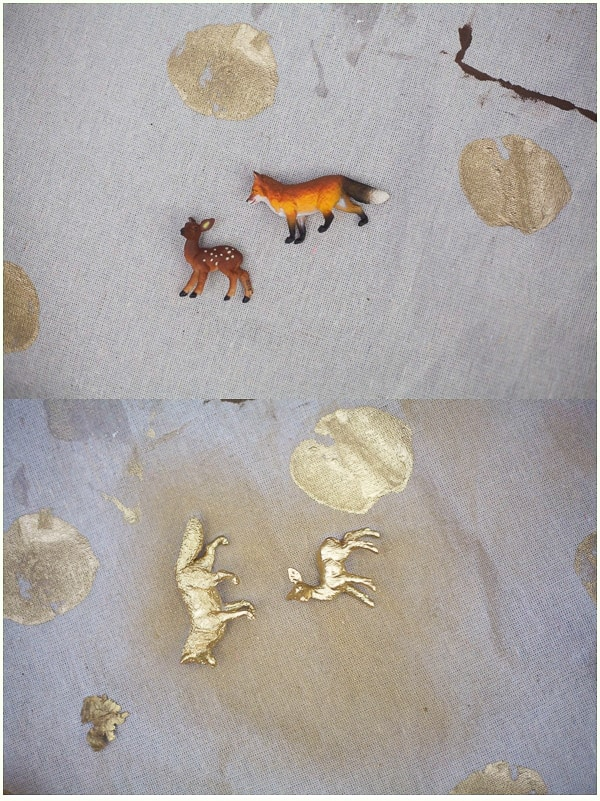 Before and after of plastic animals being spraypainted gold
