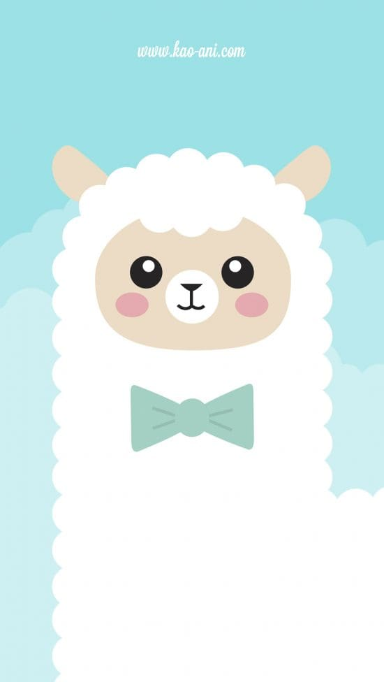 Cute wallpapers - this one has a illustrated alpaca on a pastel blue background!