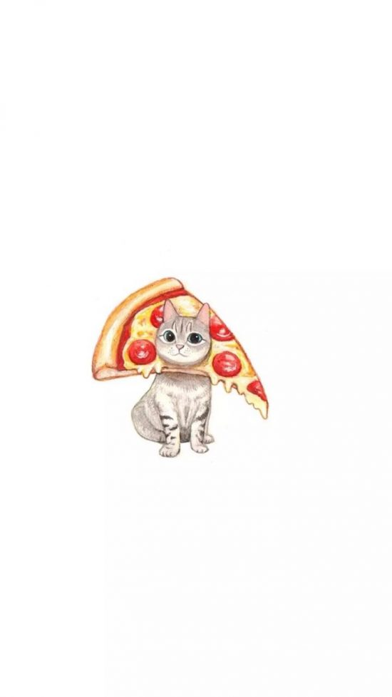 Cute wallpaper of a cat with a slice of pizza over his head.