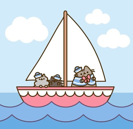 Pusheen the cat iphone wallpaper - group of cute cats on a sailboat