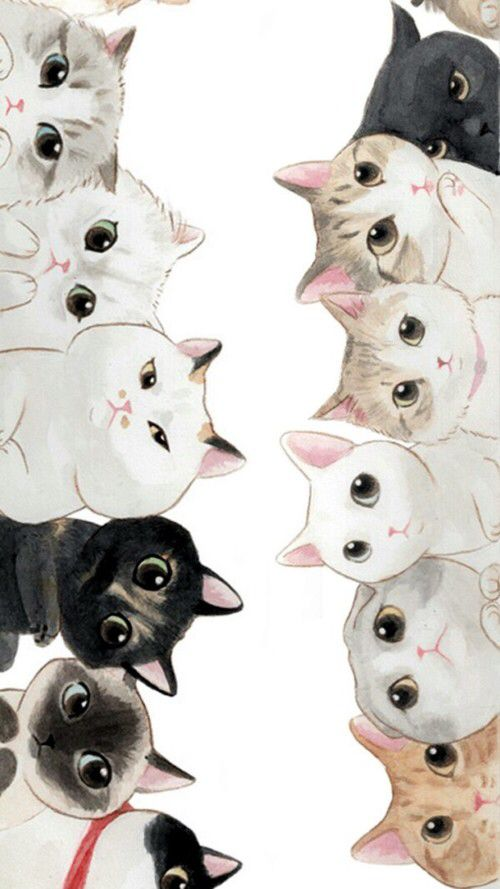 Adorable background of painted cats!