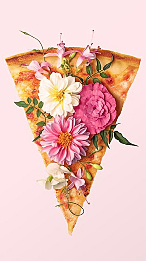 This cute wallpaper has a pastel pink background and has a slice of pizza covered with flowers