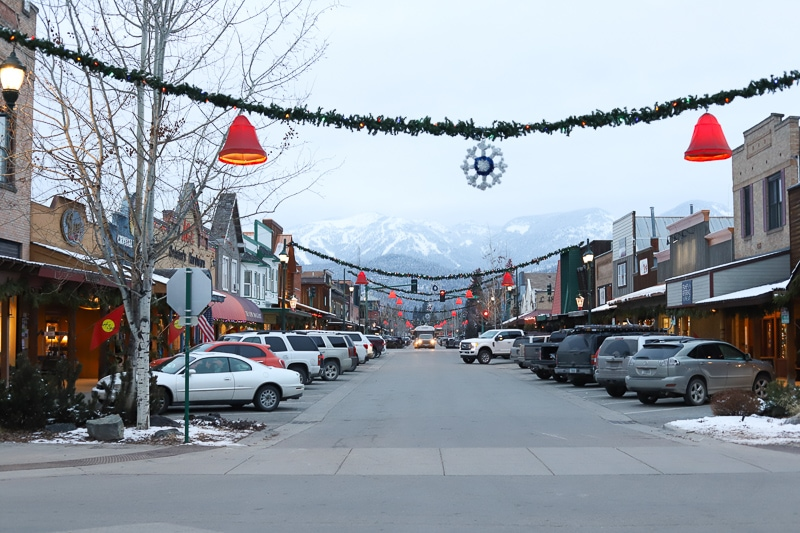 Downtown Whitefish Montana in December with Christmas decor hanging