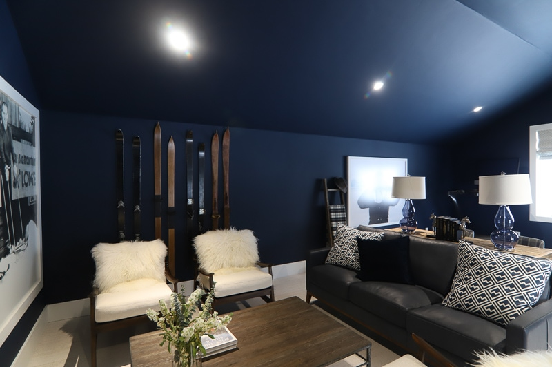 Bonus room or game room with dark navy paint on floors and ceilings from the HGTV dream home 2019
