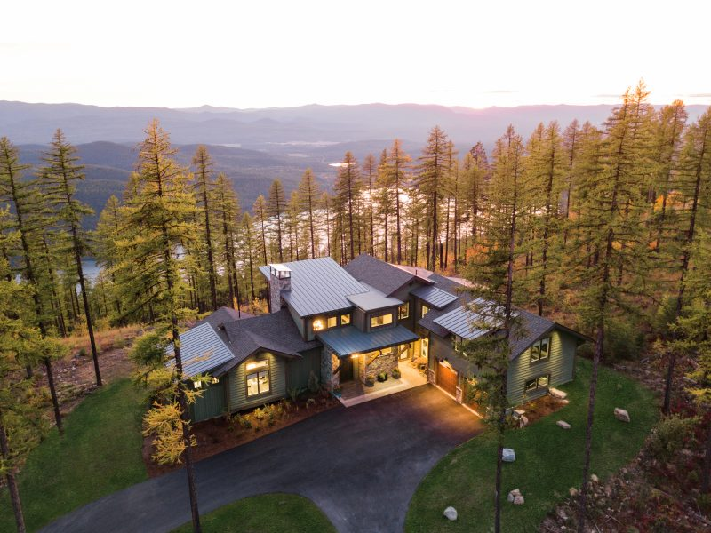 Arial view of home in woods