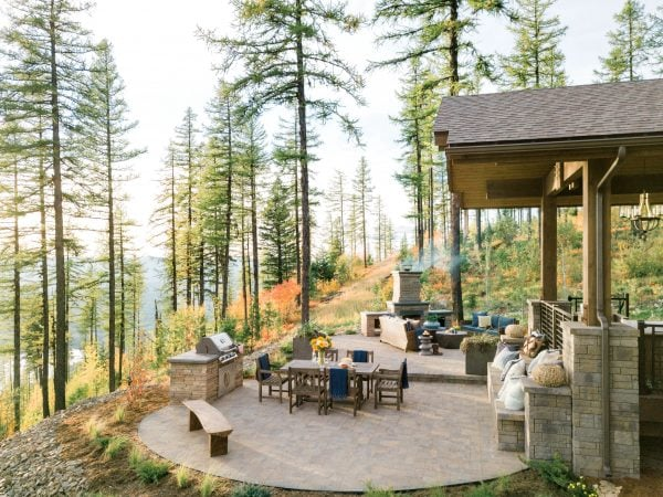 Backyard in forrest with large patio