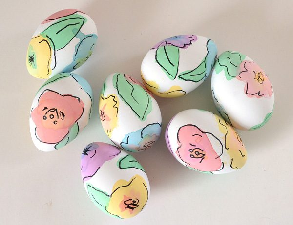 Easter eggs with painted flowers