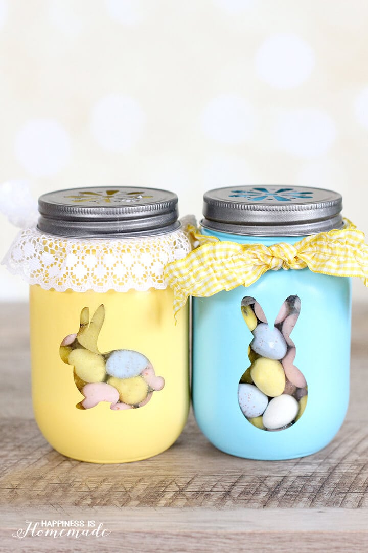 Mason jars painted with bunnies for preschoolers