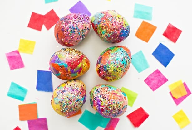 glitter easter eggs diy