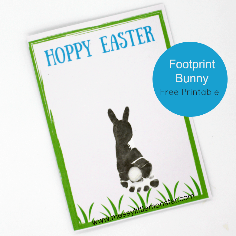 Easter craft for baby or toddler - spring bunny footprint