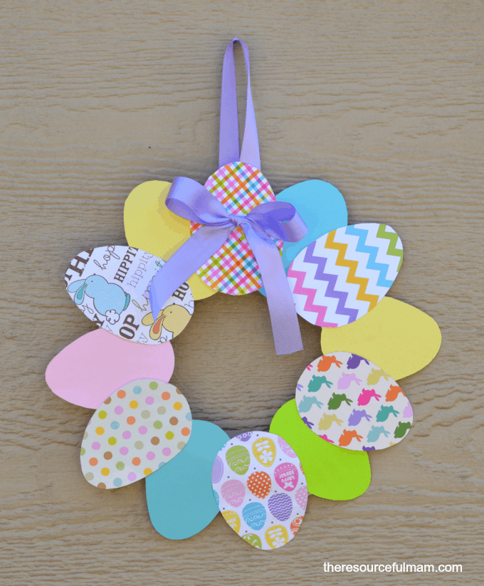 diy paper easter wreath as a toddler craft