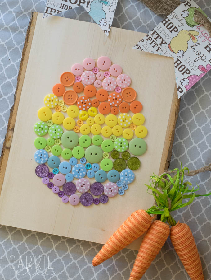 easter egg made out of buttons - cute toddler craft