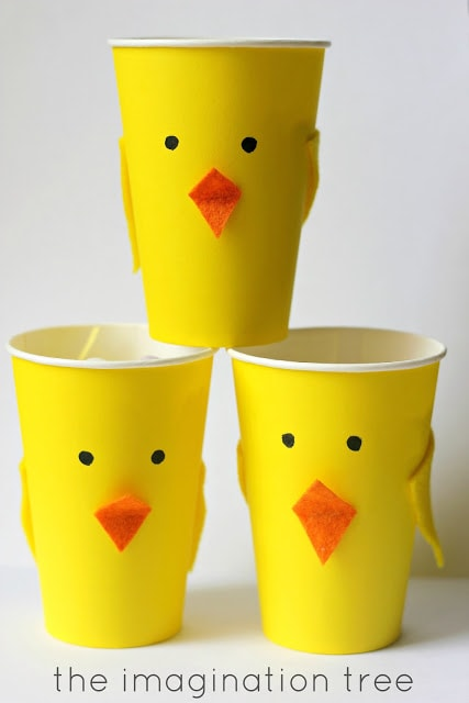 easter toddler craft - chick made out of cups