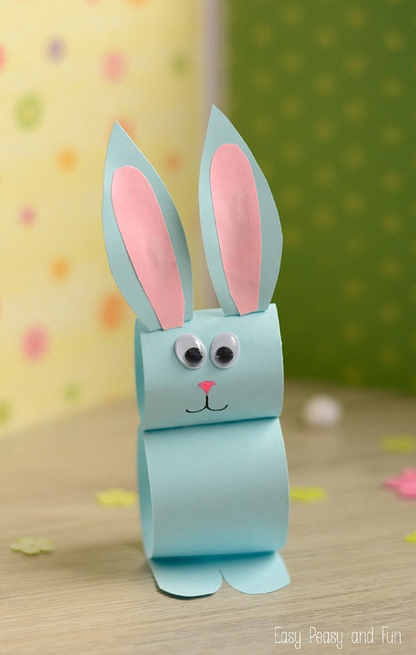 DIY bunny made out of paper by kids