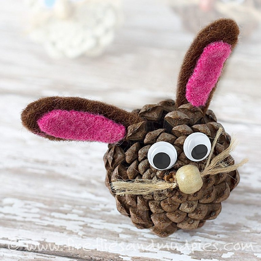 diy bunny made out of a pinecone