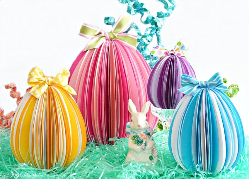 DIY paper eggs made with stacks of paper