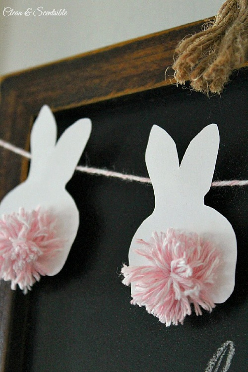 Easter bunny garland with pompom tail