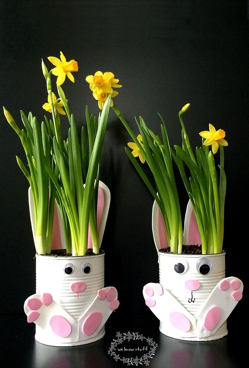 Cute bunny crafts for kids - this is bunny flower pots with daffodils