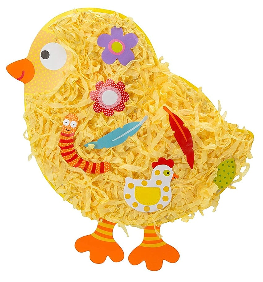 Easy easter craft for toddlers stick items into a spring chicken with no glue needed