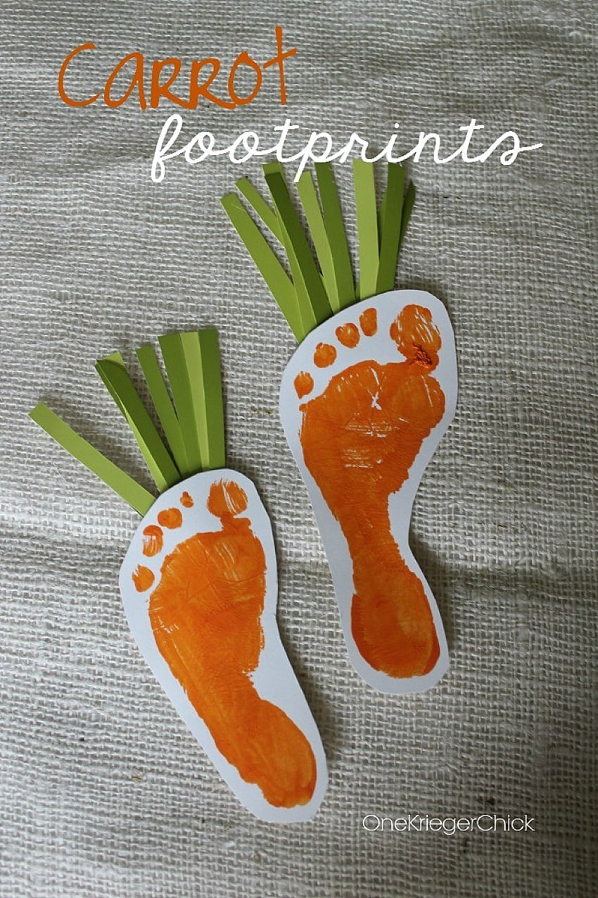 Baby footprint turned into carrot for easter