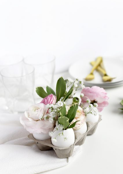 Egg shells as a vase for flowers