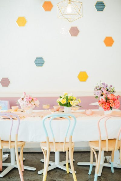 An Easter table decorated in pastel colors