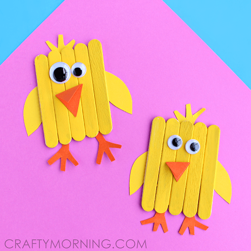 Easter chick made out of popsicle sticks as a cute kids easter craft