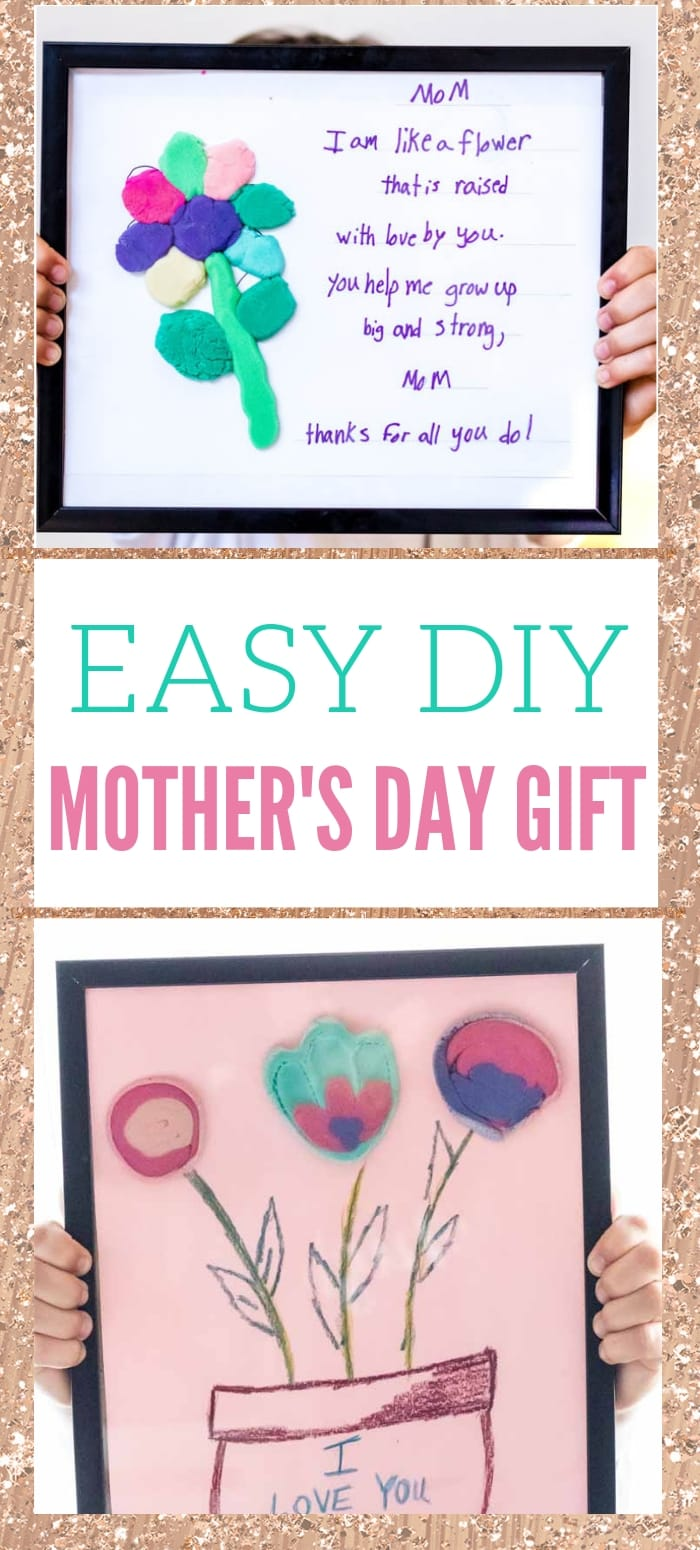 Easy DIY mother's day gifts using playdough and flowers