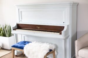 finished painted piano with white chalk paint