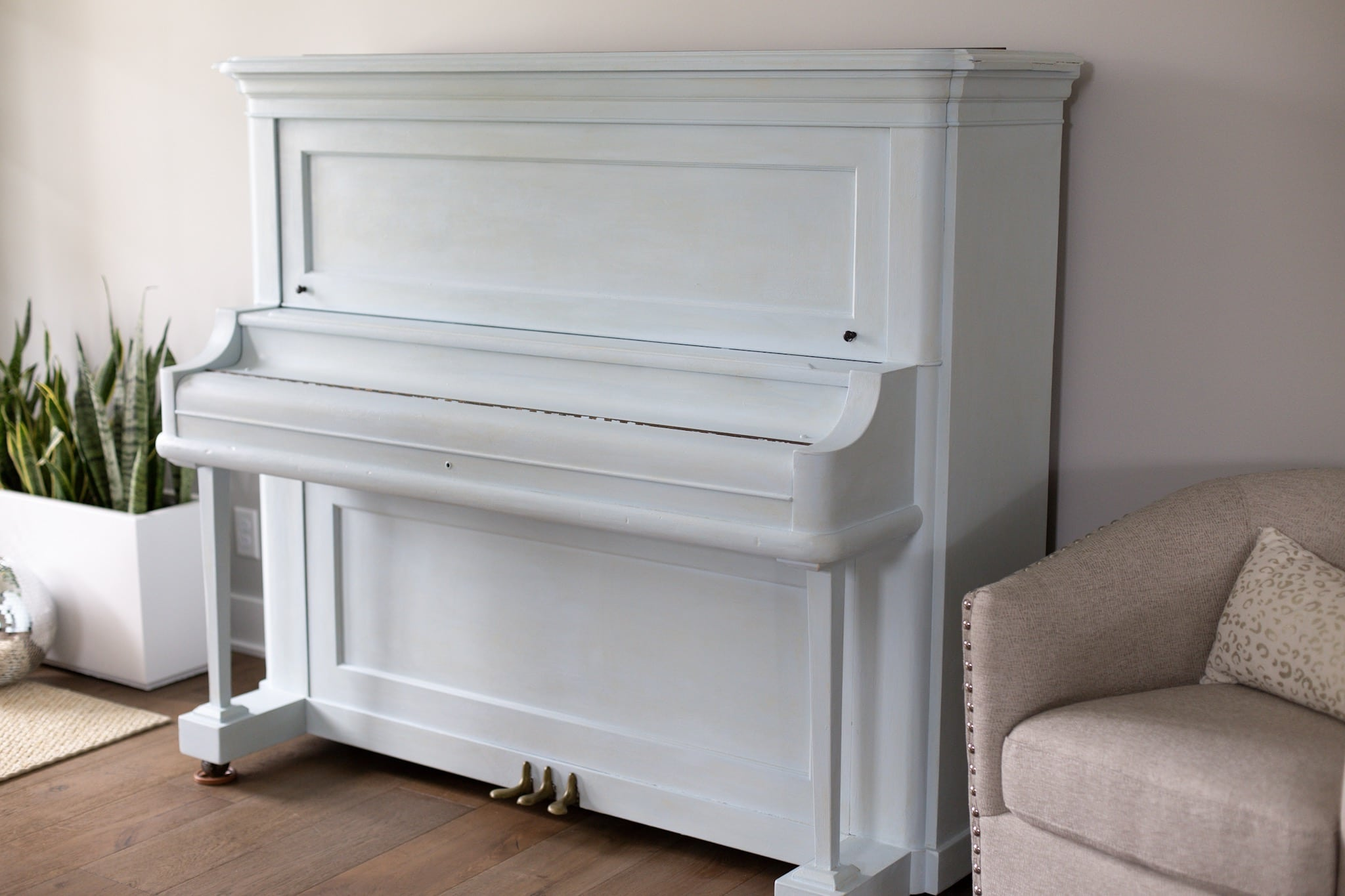 light blue gray painted piano